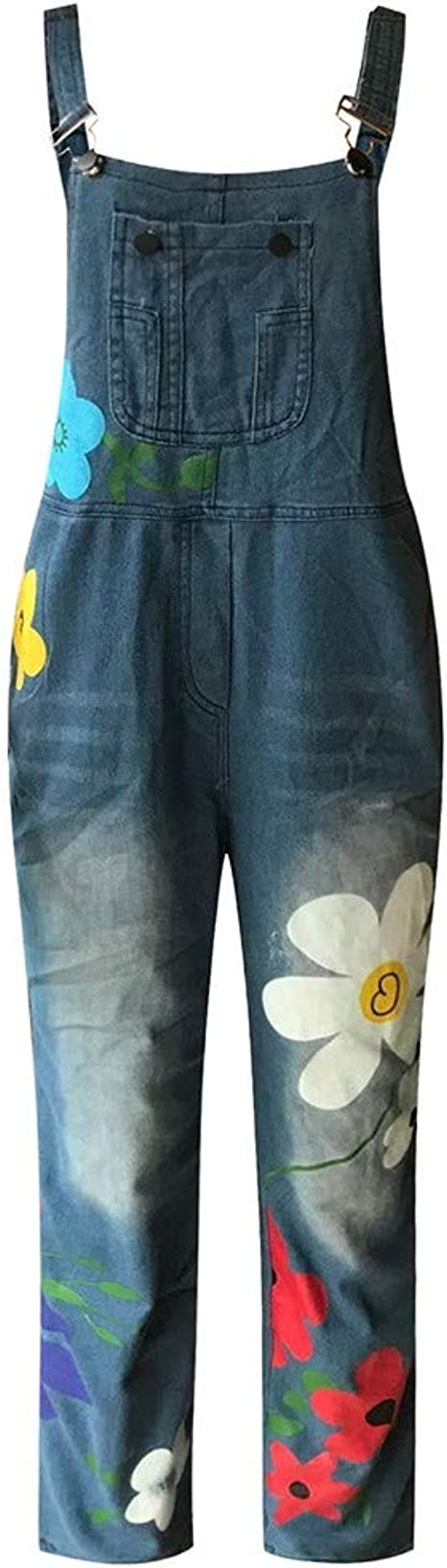 XXYsm Salopette Denim Femme Femme Fleur Impression Grand Poche Jumpsuit en Vrac Loisir Combinaison /élastique Coton Pantalons Denim