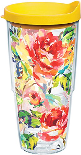 Tervis 1244394 Fiesta - Floral Bouquet Tumbler with Wrap and Yellow Lid 24oz, Clear ()
