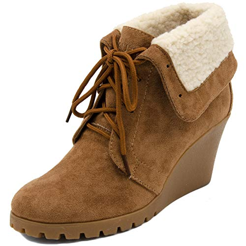 Nautica Womens New Rendon Lace-Up Boot Wedge Ankle Bootie with Fold Over Sherpa Fur Collar-Tan-9.5