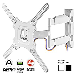 ONKRON TV Wall Mount Full Motion for 32 to 55-inch Flat Screens up to 77 lbs White (M4)