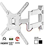 ultra slim tv wall bracket - ONKRON TV Wall Mount Full Motion for 32 to 55-inch Flat Screens up to 77 lbs White (M4)