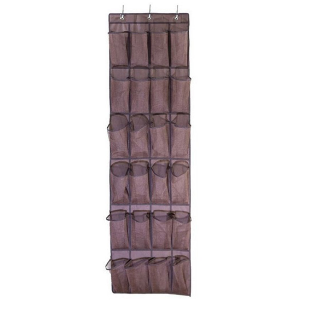Closet Bag,Hmane 24 Pockets Hanging Over Door Holder Shoes Nonwoven Fabric Mesh Organizer Storage Wall Closet Bag - Brown