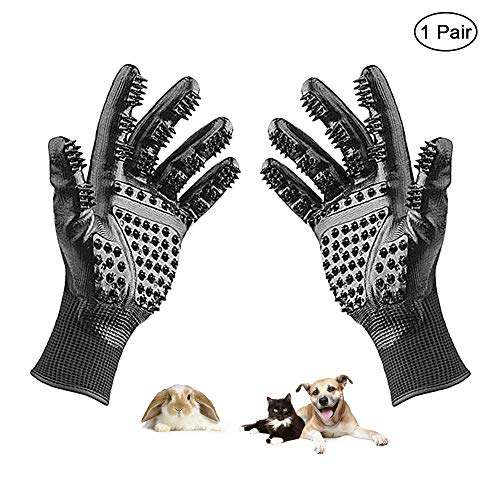 Yourder Pet Grooming Gloves Shedding Brush Bathing Mitt Hair Remover Glove for Dogs Cats Horses Rabbits with Both Long and Short Fur
