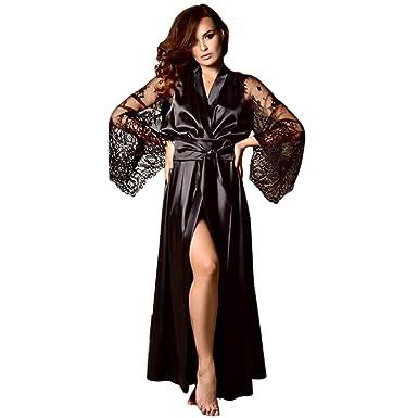 52c3ec1e61 Women Satin Mesh Long Nightdress Silk Lace Lingerie Nightgown Sleepwear  Sexy Robe Women Lingerie Black