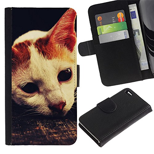 Billetera de Cuero Caso del tirón Titular de la tarjeta Carcasa Funda del zurriago para Apple Iphone 4 / 4S / Business Style Laperm American Shorthair Cat Singapura