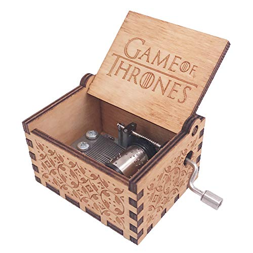 Game of Thrones Music Box Hand Crank Musical Box Carved Wooden Musical Gift,Play The Theme Song of Game of Thrones,Brown