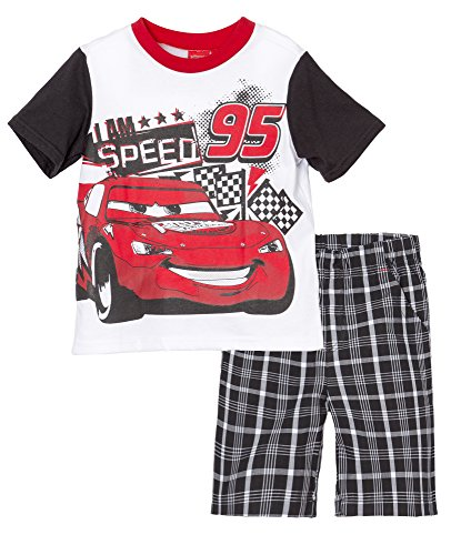 (642044CAT) Disney Little Boys Cars Lightning McQueen 2 Piece Short Set in Red McQueen Size: 3T (Disney Clothing For Adults)
