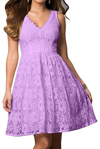 Applikation mini Ivydressing Spitze Cocktailkleid V Rueckenfrei Damen Linie A kurz Lavender sexuell Satin Neck aermellos Ballkleid Heimkehrkleid 4qxwXqrP