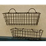 Rusty Wire Wall Basket Set Country Primitive Home Décor