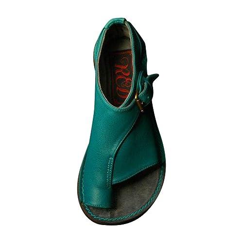 Mujer Retro Sandalias de Verano Cómodas Punta Abierta Zapatos Correctoras Juanetes Reduce El Dolor En El