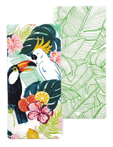 Celebrate Tropical Floral Cockatoo Toucan Parrot Palm Leaf Dishtowel Set of 2 Tea Towels