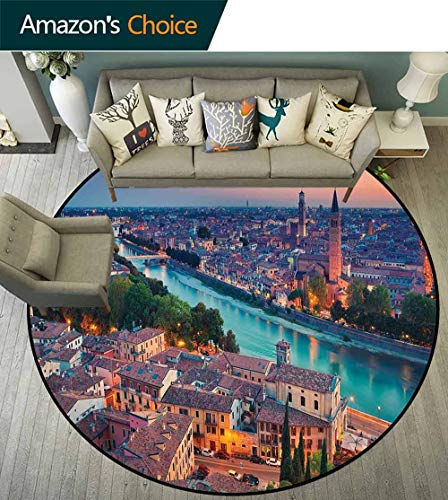 European Round Rug Entrance,Verona Italy During Summer Sunset Blue Hour Adige River Medieval Historcal for Bedroom,Aqua Coral Green,D-47 ()
