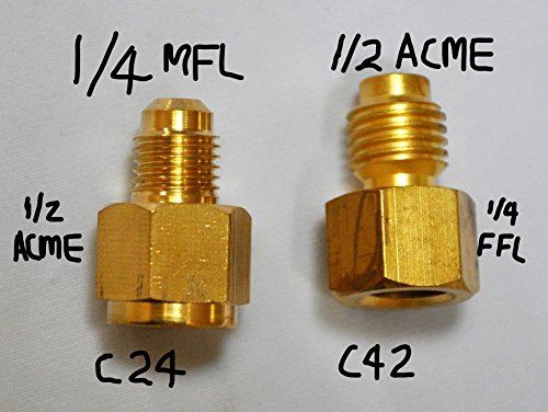 R134a R22 Refrigeration Refrigerant Handling Charging Tool Vacuum Pump Port Connection HVAC Service Adapters: 1/4 Flare X 1/2 Acme Car AC Home AC Tool FJC 6014 + 6015