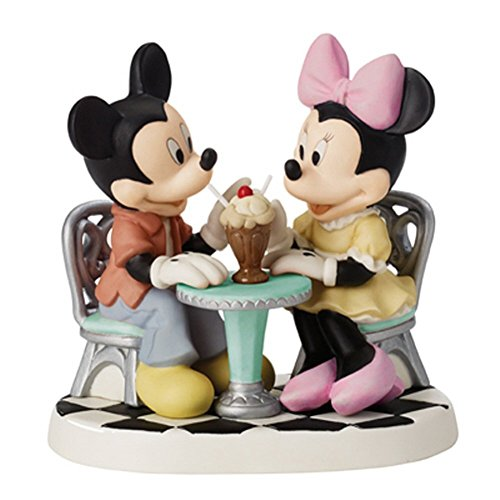 Precious Moments Mickey and Minnie Sharing Ice Cream Float Figurine