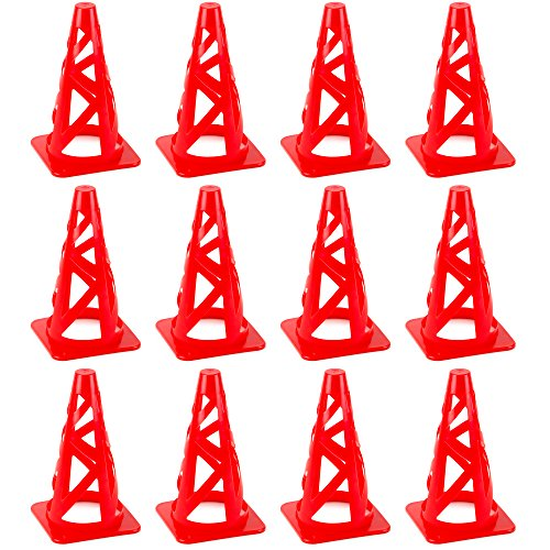 "Crown Sporting Goods Red 9"" Collapsible High Hat Sport Cone Markers for Indoor/Outdoor Agility Training from Crown Sporting Goods"