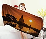 Asian,Baby Bath Towel,Big Giant Statue The River at Sunset Thai Asian Culture Scene Yin Yang Print,Print Wrap Towels,Burnt Orange Size: W 10'' x L 39.5''