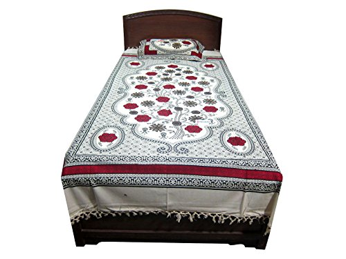 Bed Cover 100% Cotton Handloom Indi Hippie Bedding Bedspreads with Pillow Sham Twin Sz