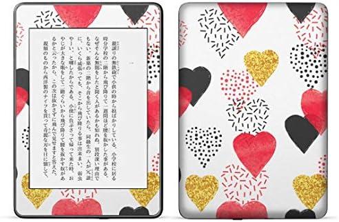 igsticker kindle paperwhite 第4世代 専用スキンシール キンドル ペーパーホワイト タブレット 電子書籍 裏表2枚セット カバー 保護 フィルム ステッカー 015940 ハート 赤 模様