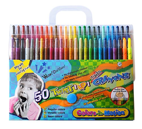 50 Colors-in-Motion Twist-up Crayons, Colored Pencils, Kids Crayon, Adult Coloring, Professional Drawing (7 in length)]()