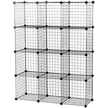 Charmant UNICOO   Multi Use DIY 12 Cube Wire Grid Organizer, Bookcase, Bookshelf,  Storage
