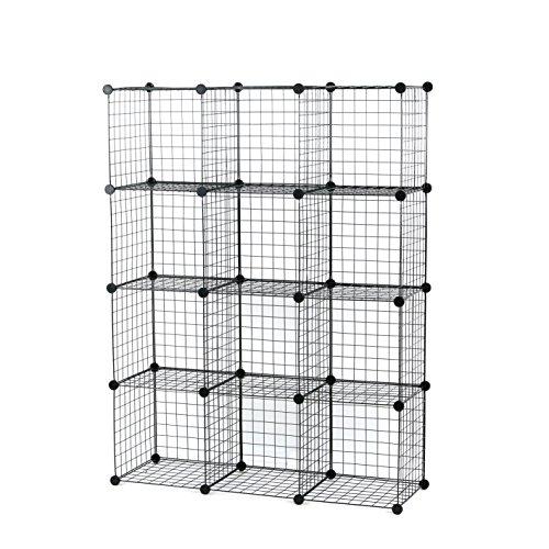 UNICOO - Multi Use DIY 12 Cube Wire Grid Organizer, Bookcase, Bookshelf, Storage Cabinet, Wardrobe Closet,Toy Organizer, Wire Cube Storage- (Black -