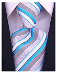 Scott Allan Mens Striped Tie - Turquoise Blue/Gray