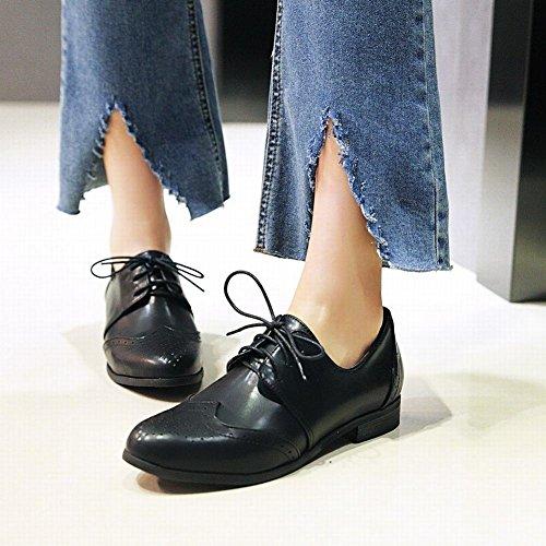 Bedel Voet Damesschoenen Met Lage Hak Veter Oxford Schoenen Zwart