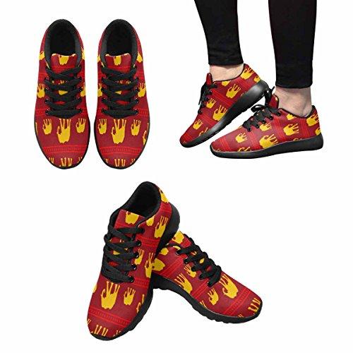 Interestprint Femmes Jogging Running Sneaker Léger Aller Confort De Marche Facile Sport Chaussures De Sport Jaune Et Rouge Motif Déléphants