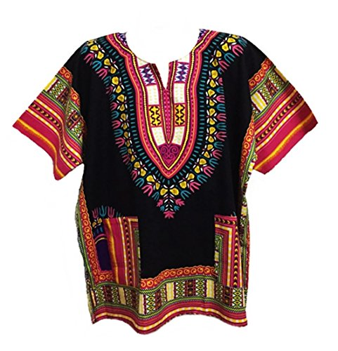 Men Dashiki Shirt African Caftan Black-Pink New XXXL