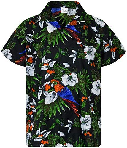 King Kameha Funky Hawaiian Shirt, Shortsleeve, Cherryparrot, Black, XL