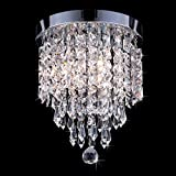 CO-Z Mini Crystal Chandelier with 3 Lights, Chrome Flush Mount Ceiling Light Fixture with Raindrop Crystals, Modern Ceiling Lighting for Hallway, Bedroom, Living Room, Kitchen, Dining Room