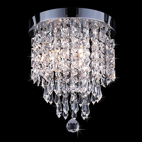 Co Z Crystal 3 Light Flush Mount Chrome Pendant Ceiling Light Fixture Raindrop Chandelier