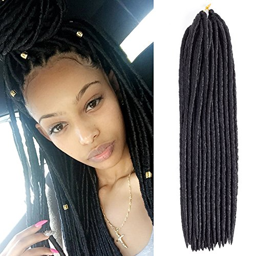 Price comparison product image Mirra's Mirror Faux Locs Crochet Hair 100% Synthetic Fiber 18 Inch 6 Packs 1B # Crochet Braids (18inch (6-PACKS), 1B#)