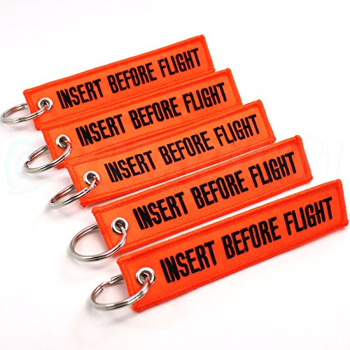 Rotary13B1 Insert Before Flight Keychain - Neon Orange/Black 5PCS