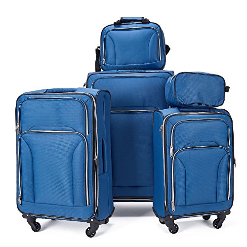Fochier Expandable 5 Piece Set Softshell Luggage Lightweight Spinner...