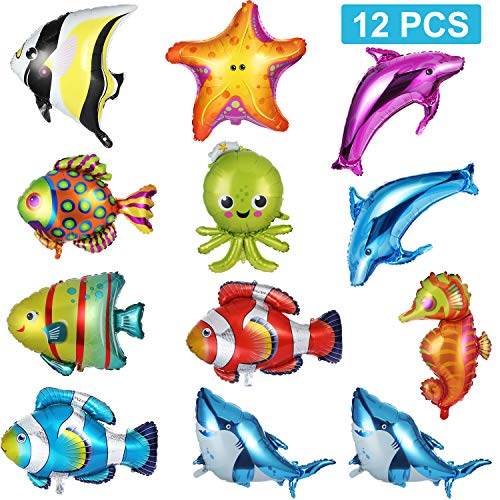 (12 Pieces Foil Balloons Fish Balloons Large Sea Animal Balloons Aluminum Sea Creatures Tropical Fish Mylar Balloons Self-Sealing Party Decoration)