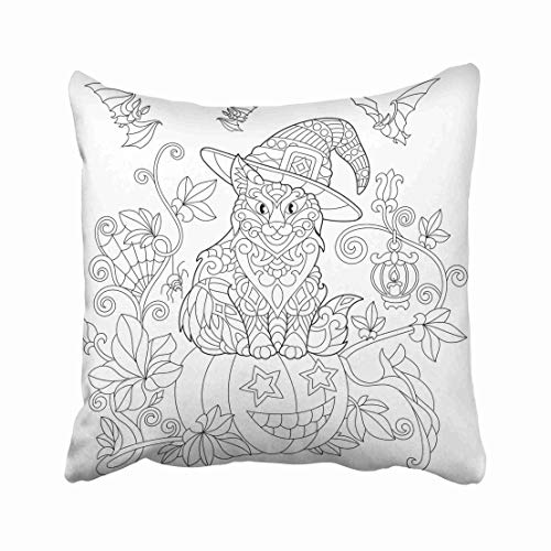 Emvency Coloring Page of Cat in Hat Sitting on Halloween Pumpkin Flying Bats Spider Lantern with Candle Freehand Throw Pillow Covers 16x16 Inch Decorative Cover Pillowcase Cases Case Two Side -