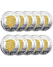 10pcs Donald Trump Coin 2021-2025 - Keep America Great Collectible Coin - Gold Plated Collectible Coin, Protective Case Included - Trump Memorabilia Re-Election Gift, Show Your Support