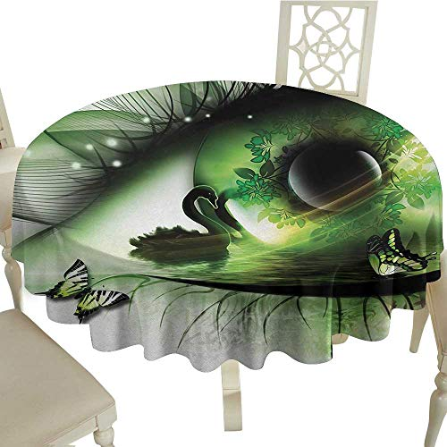 Abstract Leakproof Polyester Tablecloth Abstract Natural Artwork with a Swan Floating in Eye and Flying Butterflies Outdoor and Indoor use D59.05 Inch Green Black White