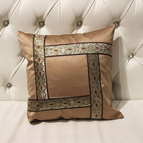 ZUOANCHEN Cushion Simple and Modern Small Clean Pillow Embroidery Cotton and Linen Sofa Living Room Head Office Cushion with Pillow4545CM (Color : Coffee) by ZUOANCHEN Bed Rest Pillows