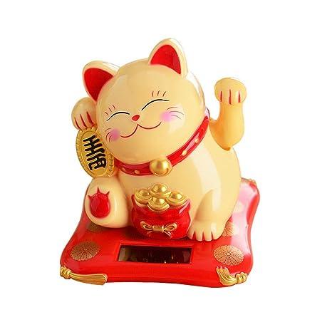 Coomir Ornamento del Gato de la Fortuna del Gato de la Fortuna de Lucky Wealth de Las Manos Que agita para la decoración del Contador de Pago y ...