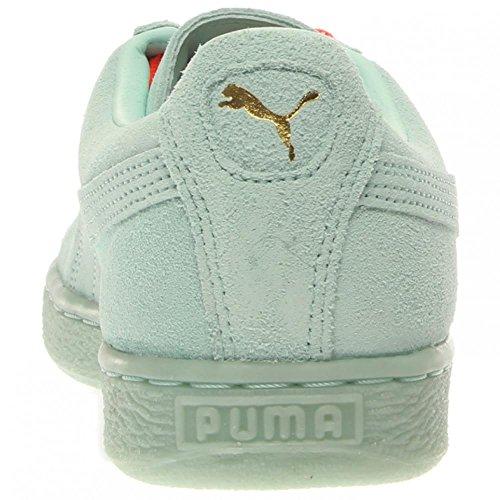 Puma hombres de la Suede Classic + Mono Iced justo Aqua/Equipo oro Sneaker 9,5D (M)