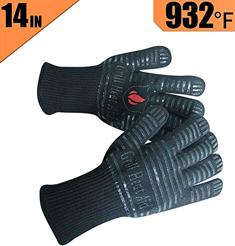 BBQ Gloves Extreme Heat Resistant for Baking, Smoking, Cooking, Grilling, Barbecue, Fireplace, Camping - More Flexibility for Kitchen or Outdoor Than Oven Mitts, Protect Up To 932°F, 14 inch Long Cuff (Fireplaces Cooking Kitchen For)