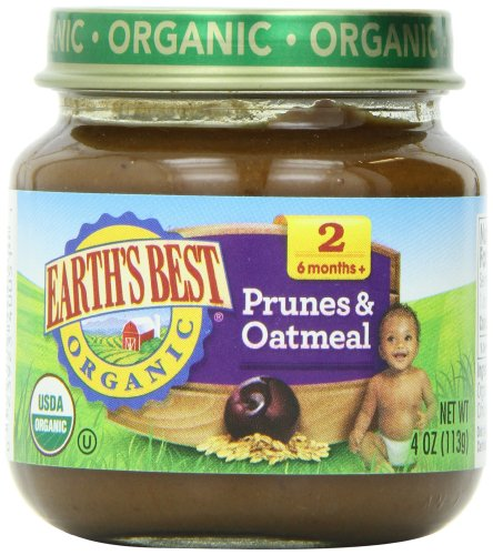 Earth's Best Organic Stage 2, Prunes & Oatmeal, 4 Ounce Jar (Pack of 12) - Prunes Organics Stage 2