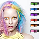 #8: Hair Chalk, Ociga Temporary Hair Color Comb for Hair Chalk Salon - Built in Sealant Non-Toxic and Safe for Kids, No Mess Works on All Hair Colors for Halloween Christmas Party Cosplay DIY (6-color)