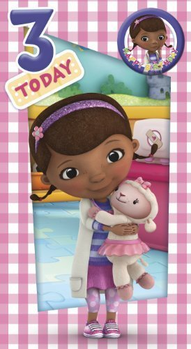 Portico Doc Mcstuffins Age 3 Birthday Card With Badge -