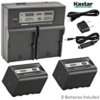Kastar Fast Charger + 2x Battery for Panasonic VW-VBD29 VW-VBD58 VW-VBD78 AG-3DA1 AG-AC8 AG-DVC30 AG-HPX171 AG-HPX250 AG-HPX255 AG-HVX201 AJ-PCS060 AJ-PX270 AJ-PX298 HC-MDH2 HC-X1000 HDC-Z10000 HC-X1