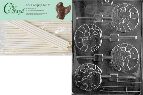 Cybrtrayd 45St25-T011 Fancy Turkey Lolly Thanksgiving Chocolate Candy Mold with 25-Pack 4.5-Inch Lollipop Sticks ()