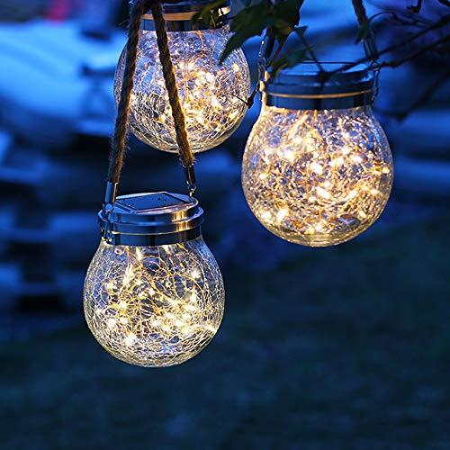 Sufleyy Solar luz de la Noche, luz de Cristal Agrietado, Luminoso ...