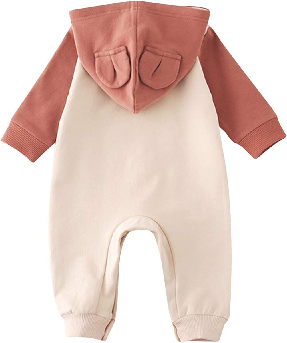Formitanss Neugeborenes Baby Strampler Jungen M/ädchen Overall mit Kapuze Mond Muster Fleece Langarm Baby Outfits Winter W/ärmer Baby Kleidung Spieler